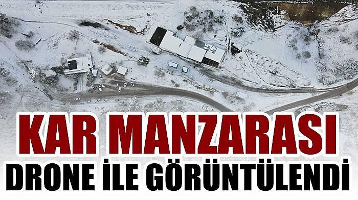 Çanakkale'de kar manzarası drone ile görüntülendi