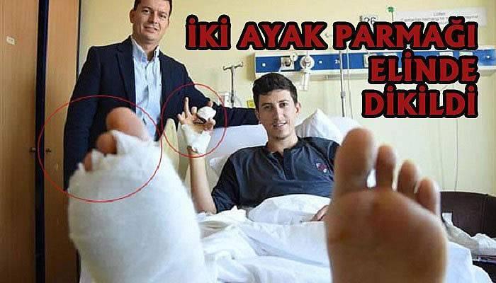 Ayak parmakları eline dikildi