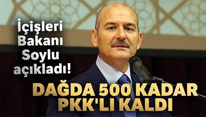 İçişleri Bakanı Soylu açıkladı! 'Dağda 500 kadar PKK'lı kaldı'