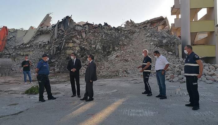 Çan'da yıkılan hükümet binasına denetleme