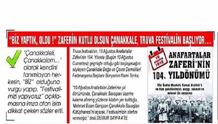 """""""BİZ YAPTIK, OLDU !"""" ZAFERİN KUTLU OLSUN ÇANAKKALE, TRUVA FESTİVALİN BAŞLIYOR…"""