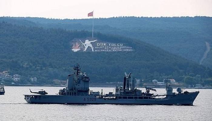 İtalyan ve Fransız savaş gemileri Çanakkale Boğazı'ndan geçti (VİDEO)