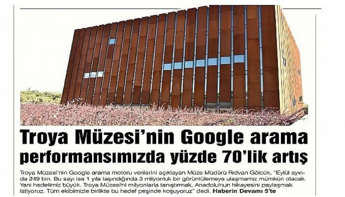 Troya Müzesi'nin Google arama performansımızda yüzde 70'lik artış