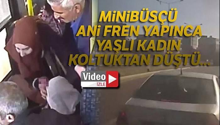 Minibüsçünün koltuktan düşen yolcuyu hastaneye götürme çabası kamerada
