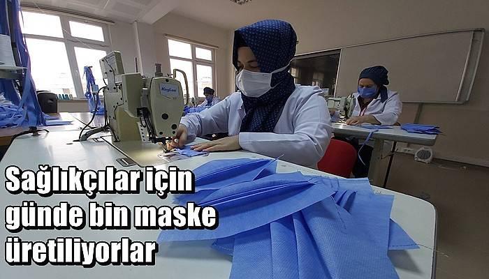 Sağlıkçılar için günde bin maske üretiliyorlar (VİDEO)