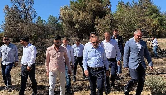 Bülent Turan, yangında zarar gören alanda incelemelerde bulundu