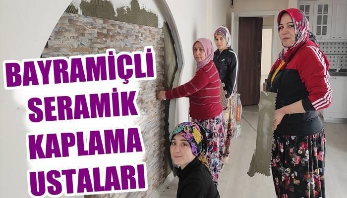 4 kadın inşaatlarda çalışıp, seramik kaplıyor (VİDEO)
