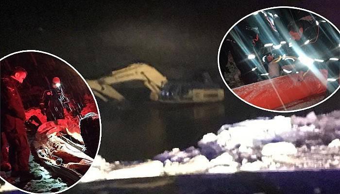 Mahsur kalan iş makinesi operatörünü AFAD ekipleri kurtardı