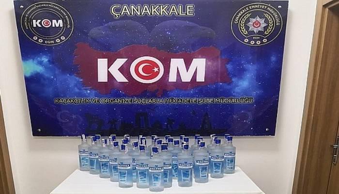 Çanakkale'de 54 şişe kaçak içki ele geçirildi