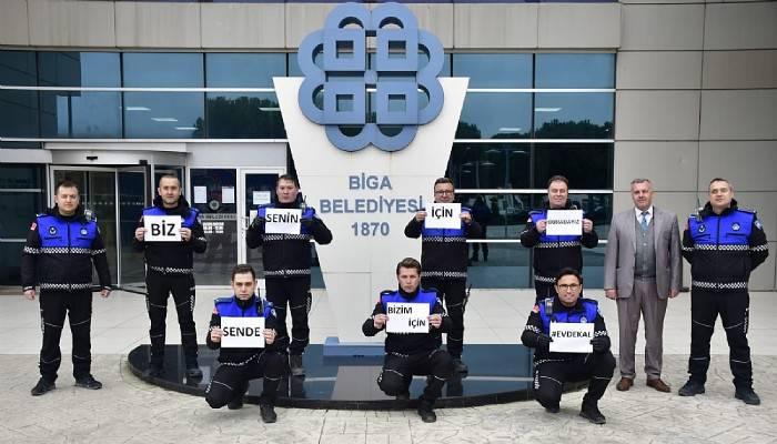 Biga Belediyesi'nden 'evde kal' mesajı