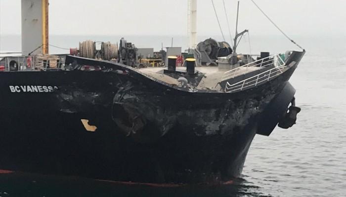 Gelibolu açıklarında iki gemi çarpıştı (VİDEO)