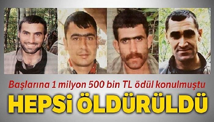 Başlarına 1 milyon 500 bin TL ödül konulmuştu, 4'ü de öldürüldü