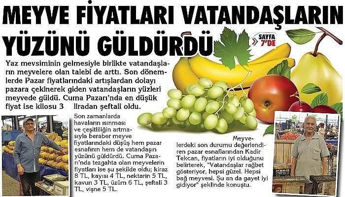 Meyve fiyatları vatandaşların yüzünü güldürdü