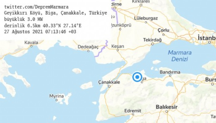 Biga'da 3.0 büyüklüğünde deprem oldu