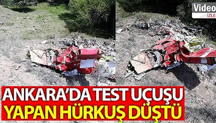 Ankara'da test uçuşu yapan Hürkuş düştü