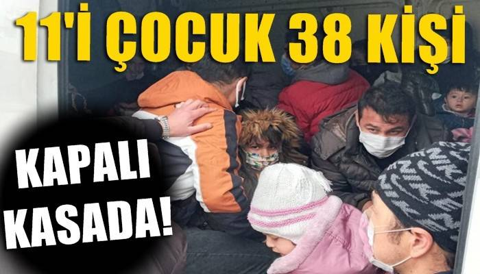 Kapalı kasa minibüste 38 kaçak göçmen yakalandı (VİDEO)