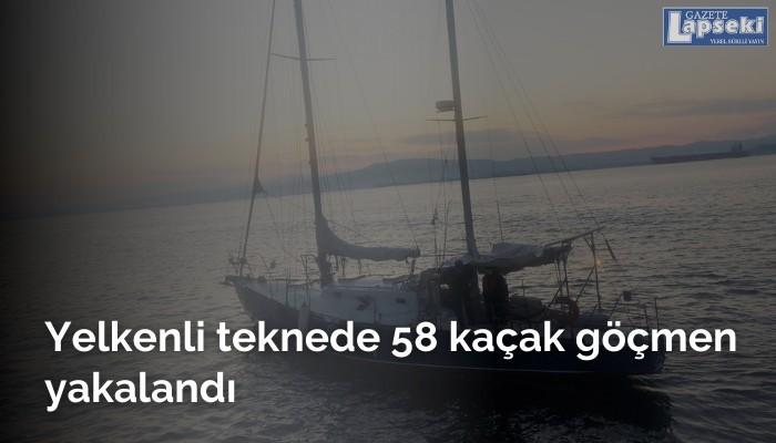 Yelkenli teknede 58 kaçak göçmen yakalandı
