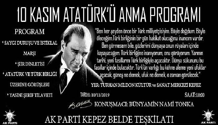 AK Parti Kepez Belde Teşkilatı 10 Kasım Atatürk'ü Anma Programı Gerçekleştirecek
