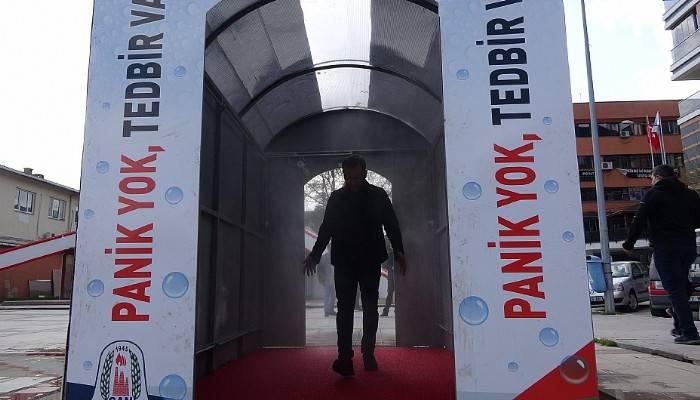 Çan'da koronavirüse karşı dezenfekte tüneli kuruldu (VİDEO)