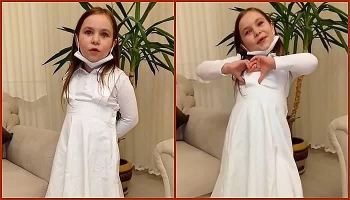 Minik Ece, hemşire elbisesiyle sağlık çalışanlarına teşekkür etti (VİDEO)