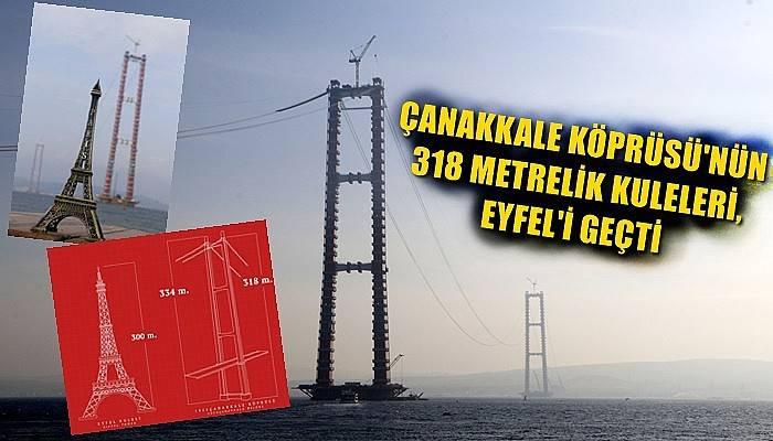 Çanakkale Köprüsü'nün 318 metrelik kuleleri, Eyfel'i geçti (VİDEO)