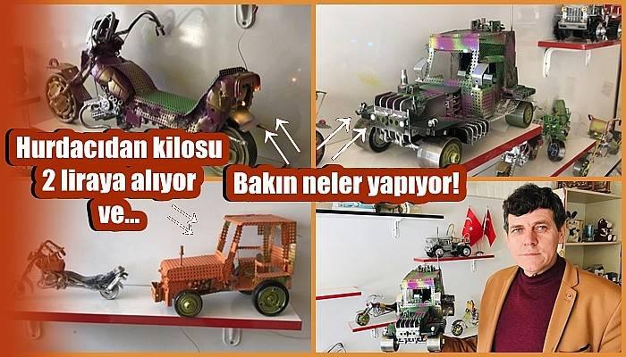 Atık ürünlerle birbirinden ilginç oyuncak araçlar yapıyor (VİDEO)