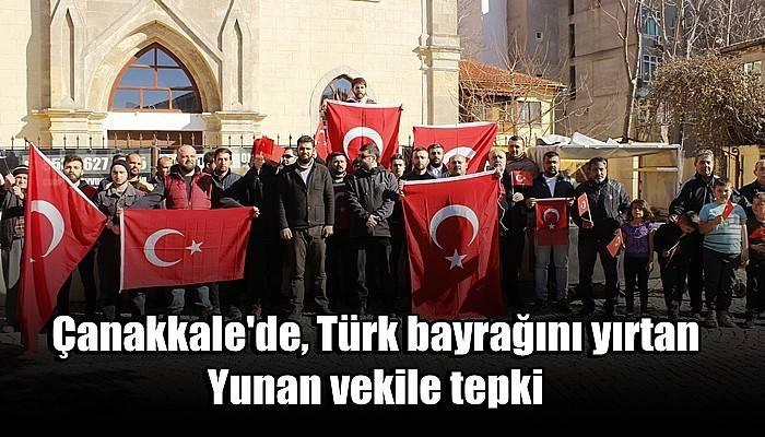 Çanakkale'de, Türk bayrağını yırtan Yunan vekile tepki (VİDEO)