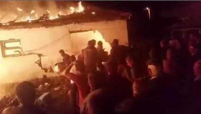 Ağılda başlayan yangın 2 eve sıçradı (VİDEO)