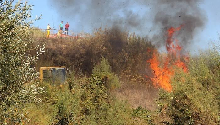 Çan'da linyit döküm sahasında yangın