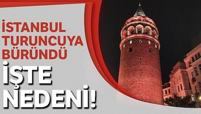 İstanbul'un simgeleri Kadına Şiddete karşı 'Turuncu'ya büründü