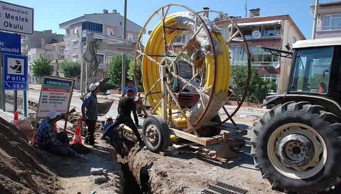 Bayramiç'te doğalgaz hat çekme çalışmaları