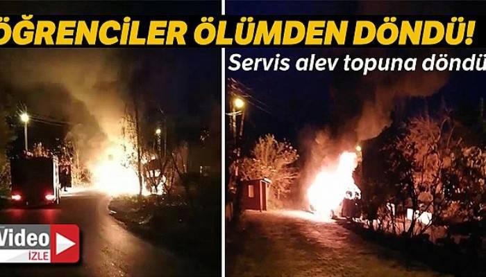 9 öğrenci alev topuna dönen serviste yanmaktan son anda kurtuldu
