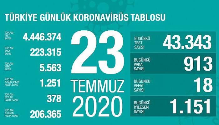 Sağlık Bakanı Koca: Son 24 saatte koronavirüsten 18 kişi hayatını kaybetti, yeni vaka sayısı 913