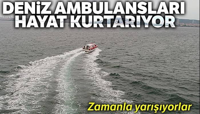 Deniz ambulansının zamanla yarışı havadan görüntülendi
