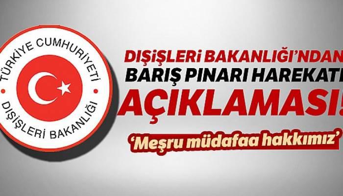 Dışişleri Bakanlığı: 'Harekat meşru müdafaa hakkımız'