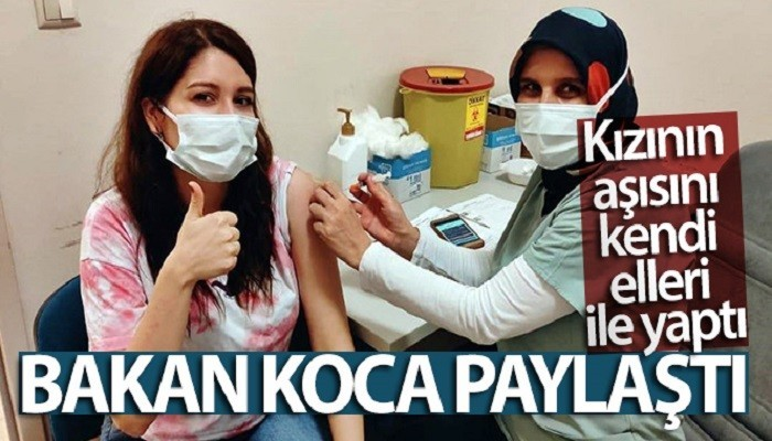 Bakan Koca paylaştı, kızının aşısını kendi elleri ile yaptı