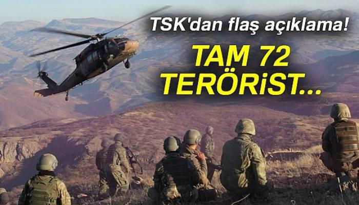 TSK'dan flaş açıklama: Son bir hafta içinde 72 terörist etkisiz hale getirildi