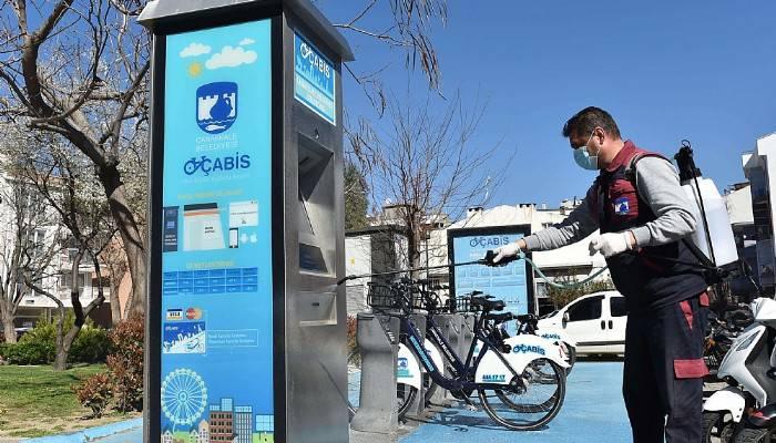 ÇABİS bisikletleri dezenfekte ediliyor