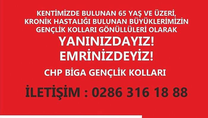 BİGA CHP İLÇE GENÇLİK KOLLARI'NDAN YAŞLILARA YARDIM