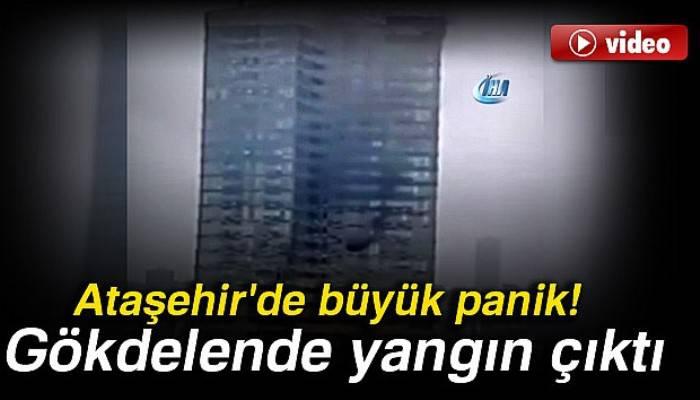 Ataşehir'de 52 katlı gökdelende yangın paniği