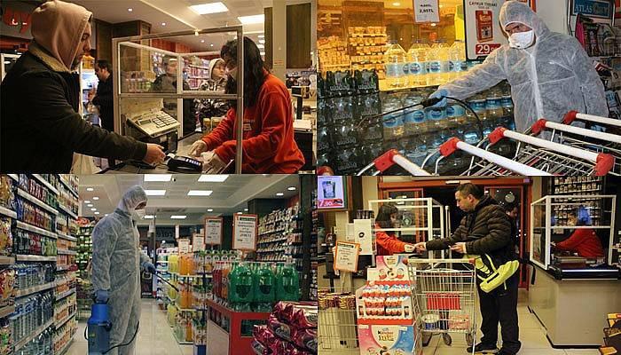 Uysal Market'te olağanüstü koronavirüs önlemleri (VİDEO)