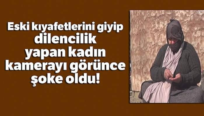 Taksim'de eski kıyafetlerini giyip dilencilik yapan kadın, kamerayı görünce şoke oldu
