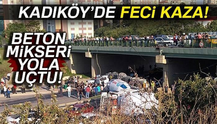 İstanbul'da beton mikseri devrildi