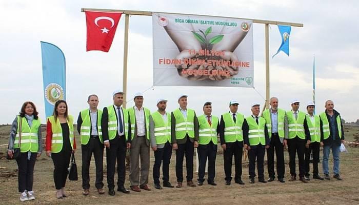 Biga'da 35 bin fidan toprakla buluşturuldu