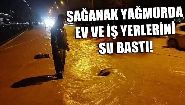 Bayramiç'te sağanak yağmurda ev ve iş yerlerini su bastı (VİDEO)