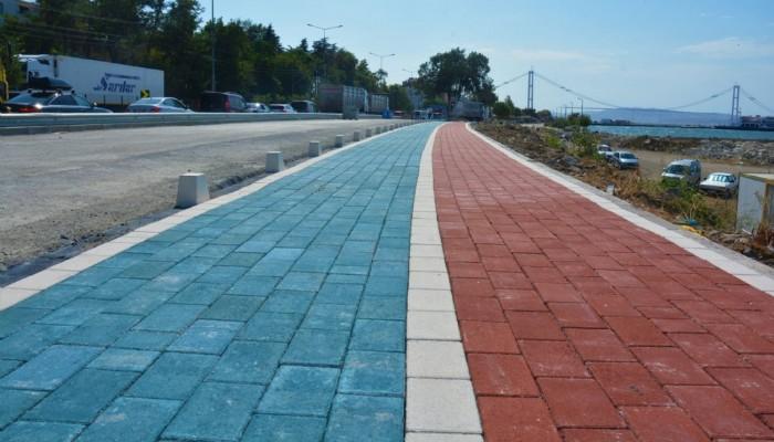 Lapseki Belediyesi Bisiklet Yol Yapım Çalışmaları Devam Ediyor