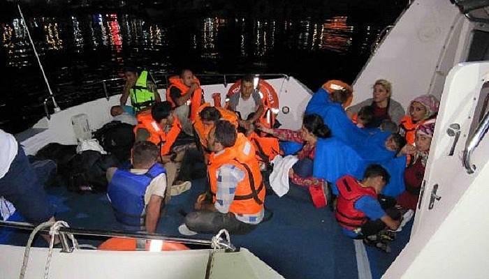 Tekne arazılanınca 23 Suriyeli kaçak yakalandı (VİDEO)