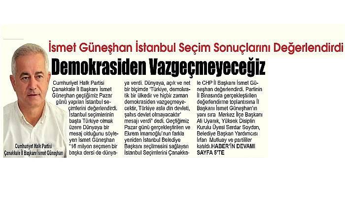 İsmet Güneşhan İstanbul Seçim Sonuçlarını Değerlendirdi