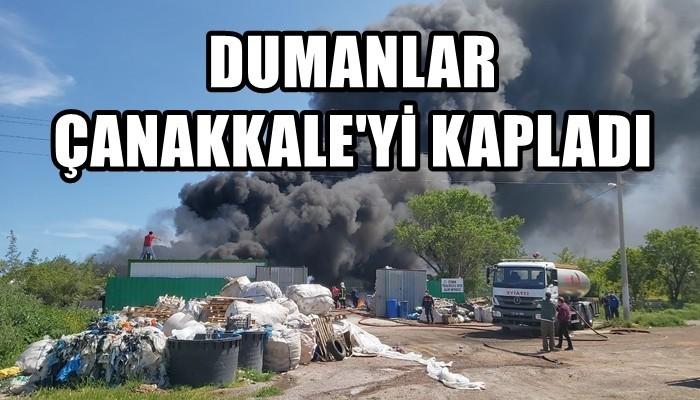 Çanakkale'de tehlikesiz atık alım merkezinde yangın (VİDEO)