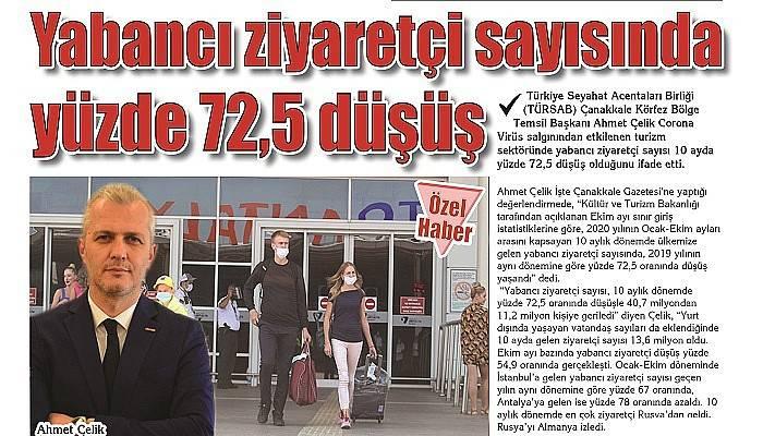 Yabancı ziyaretçi sayısında yüzde 72,5 düşüş